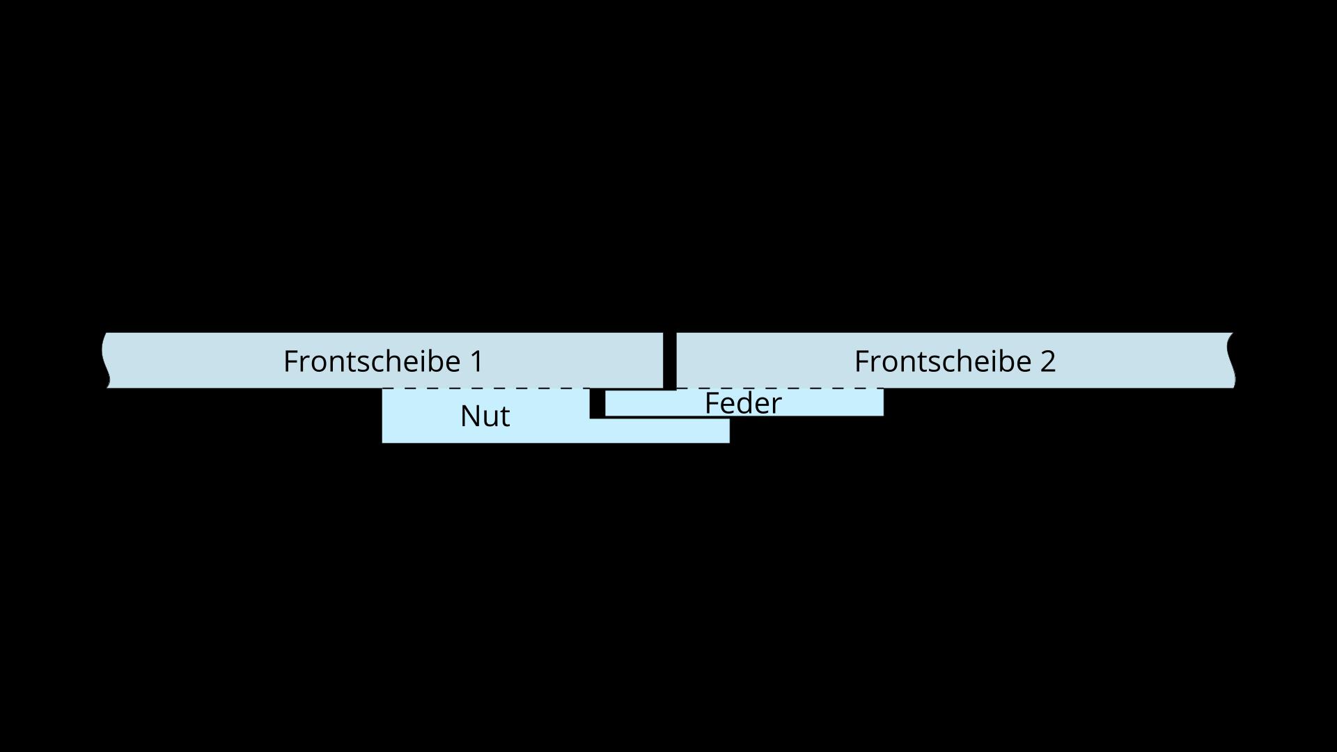 Nut Feder Verbindung - große Scheiben-transparent