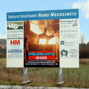 Schild-Werbetafel-Industriepark-Meuselwitz-Konstrukta-Werbetechnik