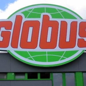 Leuchttransparent Dachanlage - Globus Schwandorf - Konstrukta Werbetechnik